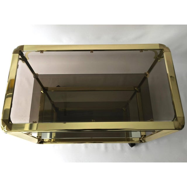 Image of Vintage 1970s Smoked Glass & Mirror Brass Bar Cart
