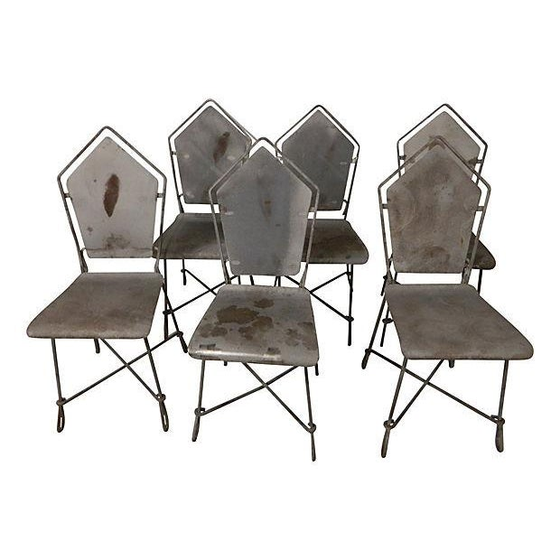 French Art Deco Iron Garden Chairs - Set of 6 - Image 1 of 6