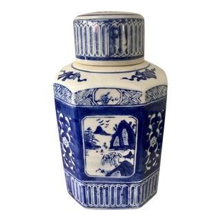 Chinoiserie Blue & White Tea Jar