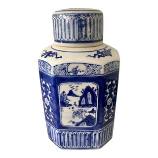 Chinoiserie Blue & White Tea Jar