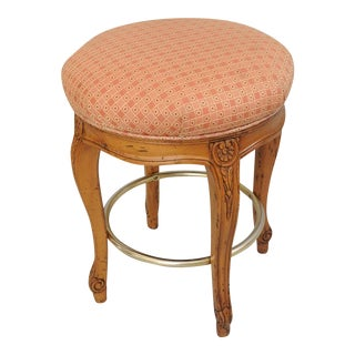 """French Country Louis XV Style Counter Height Bar Stool Swivel Wood 24"""" Seat"""