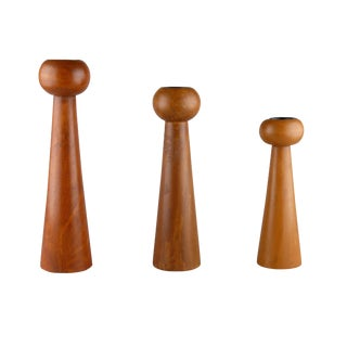 Wooden Candle Holders - Set of 3