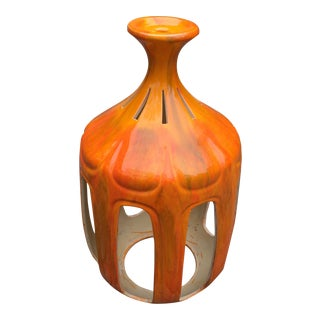 Mid Century Modern Ceramic Orange Glaze Swag Lamp Shade