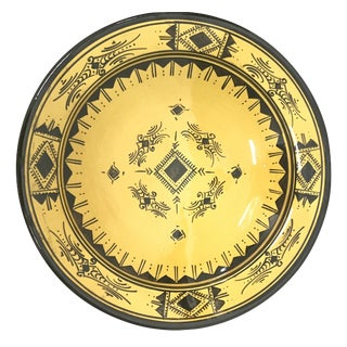 Moroccan Hand Painted Yellow Ceramic Plate