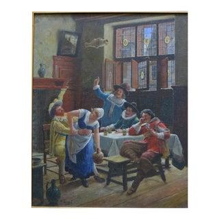 Wilhelm Giessel Tavern Scene Oil Painting