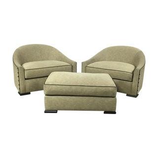 Mattaliano Club Chairs & Ottoman Set - S/3