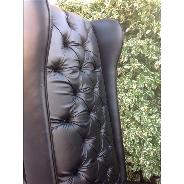 Black Tall Tufted Chairs - A Pair - Image 4 of 6