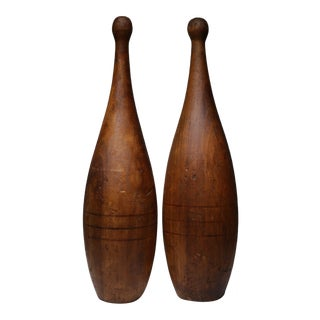 Early 20th C. Wooden Juggling Pins - A Pair