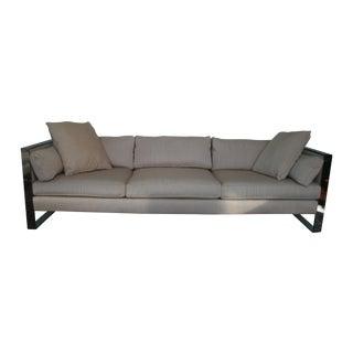 Milo Baughman Chrome Sofa and Loveseat