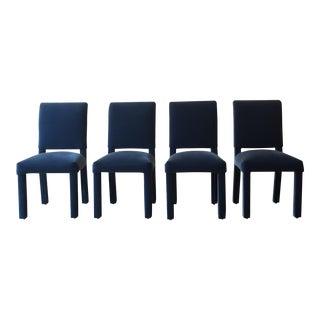 Weiman/Warren Lloyd Navy Blue Velvet Parson's Chairs - Set of 4