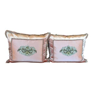 Antique Silk Velvet & Brush Trim Embroidered Textile Pillows by Villa Melrose - a Pair