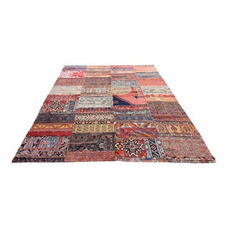 Turkish Vintage Patchwork Oushak Rug - 7′2″ × 9′7″