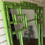 Image of Green Faux Bamboo Mirror