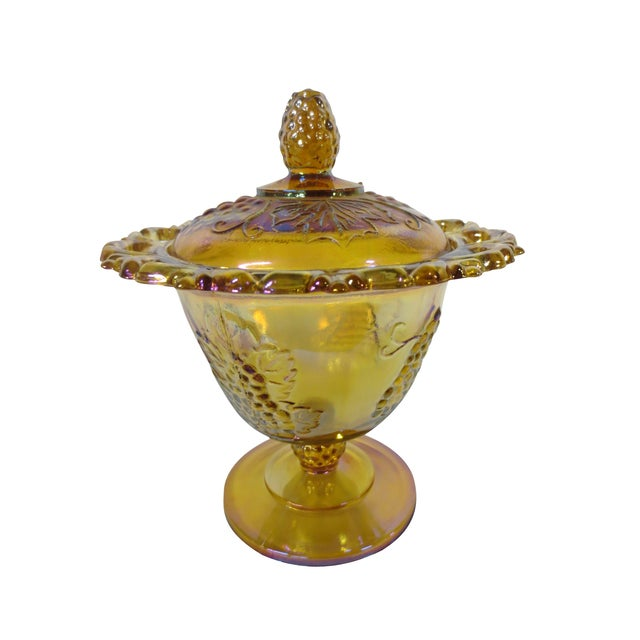 Image of Ornate Marigold Glass Candy Dish
