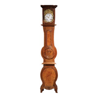 18th Century French Louis XV Carved Walnut Grandfather Clock