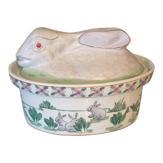 Antique Asian Chinoiserie Bunny Rabbit Spring Tureen Casserole Dish