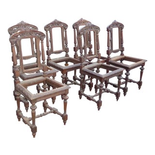 Antique Spanish Gothic Style Carved Wood Dining Chairs- Set of 6