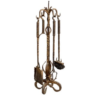 French Hand Wrought and Gilded Iron Fireplace Tool Set