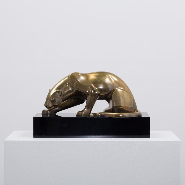 Image of A Large Limited Edition Bronze Jaguar Table Sculpture 1970s