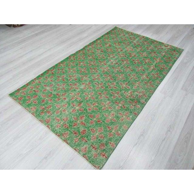Vintage Turkish Art Deco Green Floral Rug