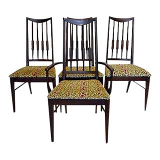Mid-Century Reed-Back Dining Chairs - Set of 4