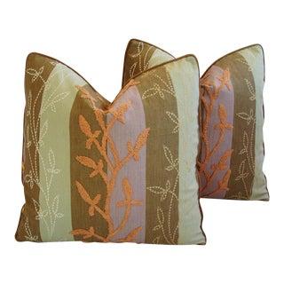 Designer Pollack Floral Embroidered & Velvet Pillows - a Pair