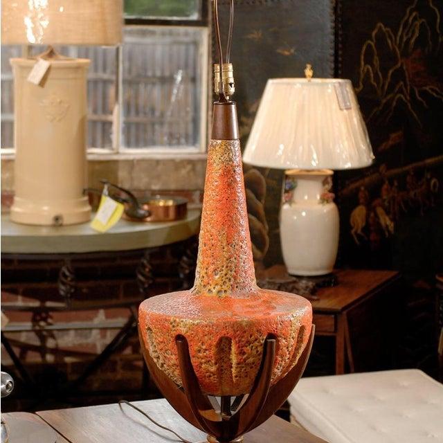 Sunset Lamps Mid-Century Orange Lava Glaze Lamp - Image 5 of 6