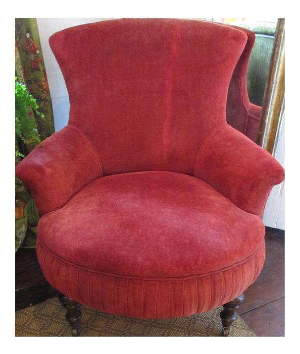 Victorian Red Velvet Slipper Chair