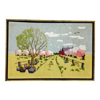 Vintage Crewel Embroidered Landscape