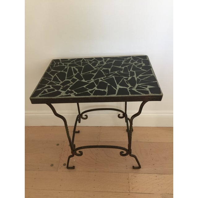 Image of Black Cracked Mosaic Tile Top Iron Side Table