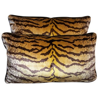 Tigre Velvet Lumbar Pillows - A Pair