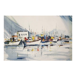 "1974 ""Marina"" Impressionist Watercolor by Wanda Kuhns"