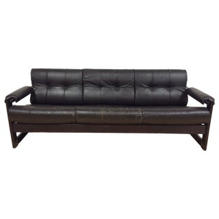 Percival Lafer Rosewood & Leather Sofa