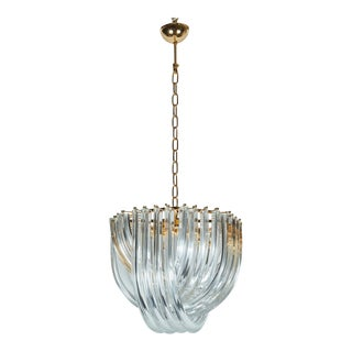 Venini Murano Curve Chandelier by Carlo Nason with an Octagonal Gilded Frame