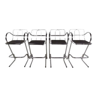 Stylish Set of Modern Chrome Barstools