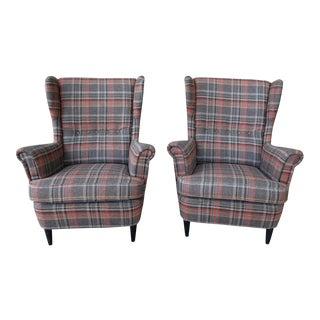 Plaid High Back Side Chairs - A Pair