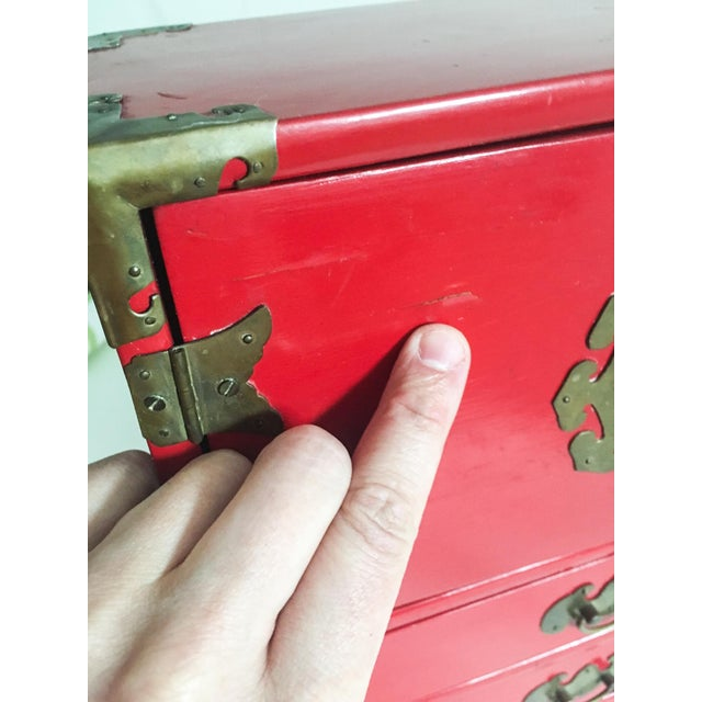 Vintage Red Lacquer Tansu Chest Jewelry Box - Image 7 of 11