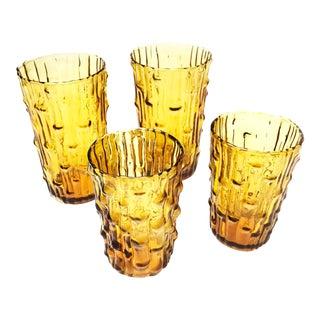 Vintage Mid-Century Italian Enesco Amber Colored, Bamboo Textured Glasses - Set of 4
