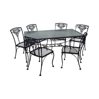 Woodard Vintage Black Painted Patio Iron Patio Dining Table & Chair Set