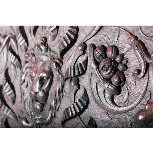 C. 1880 Vanderbilt Mansion Original Hand-Carved Oak Lion Wall Panel - Image 5 of 11