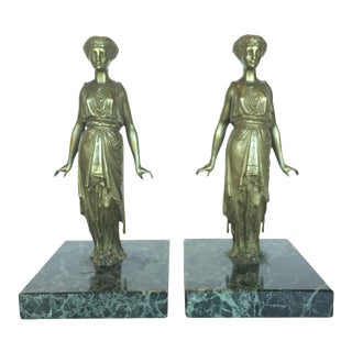 Vintage Bronze Lady Figurines - A Pair