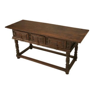Rustic 17th Century Hand-Carved Spanish One-Board-Top Table with Three Drawers