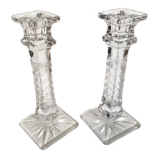 Antique Crystal Candlestick Holders - A Pair