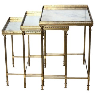 Antique French Brass Nesting Tables