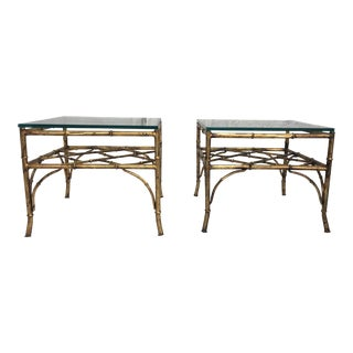 Italian Gilt Faux Bamboo Tables - A Pair