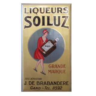 Original 1927 Belgian Art Deco Tin Liqueur Soiluz