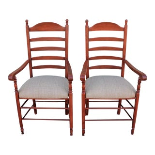 Matching Pair of 19th Century N.E. Red Painted Ladder Back Arm Chairs