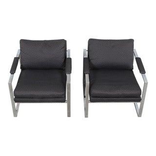 Milo Baughman Style Chrome & Upholstery Arm Chairs - a Pair