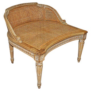 Antique French Accent Chair with Caned Seat