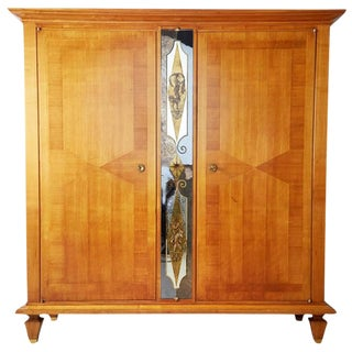 Andre Arbus Style French Fruitwood & Verre Eglomise Armoire